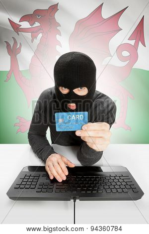 Cyber crime Concept With National Flag On Background - Wales