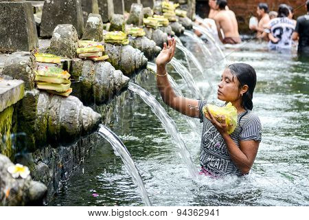 Holy Spring Water At Tirta Empul Temple