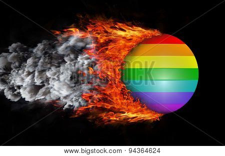 Flag With A Trail Of Fire And Smoke - Rainbow Flag