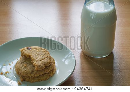 Cookies and milk background