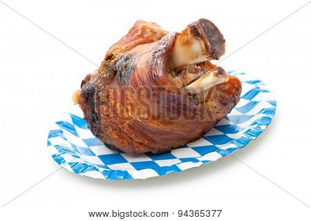 Roasted Schweinshaxe (German pork leg, pork knuckle) isolated on white background