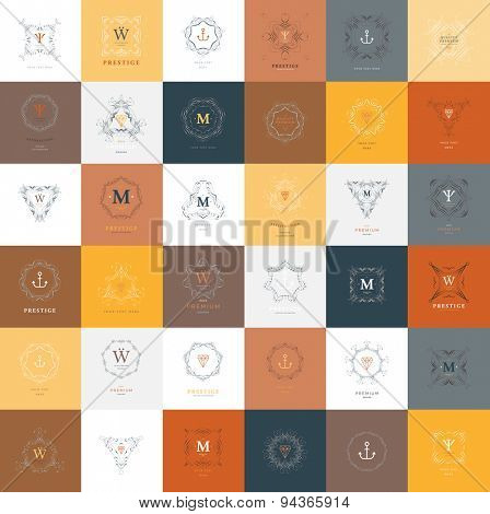 Set of Vintage Frames for Luxury Logos, Restaurant, Hotel, Boutique or Business Identity. Royalty, Heraldic Design with Flourishes Elegant Design Elements. Vector Illustration Templates Collection.