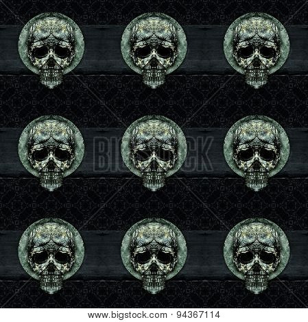 Skulls Motif Dark Decorative Seamless Pattern