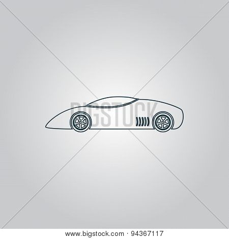 Silhouette of sport car for racing sports