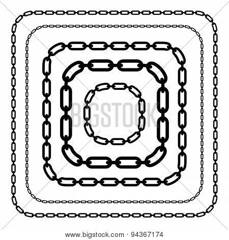 Chains, Chain Link Shapes Isolated. Various Versions. Editable Vector.