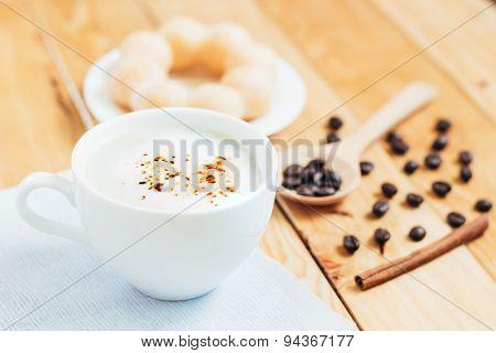 Closeup Coffee Foam And Bread Favorite Beverage In Bright Day
