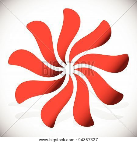 Abstract Radial Element, Rotating Curved Shapes. (vector)