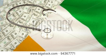 stethoscope against ivory coast national flag