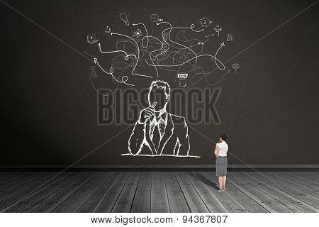 Thoughtful businesswoman against dark room
