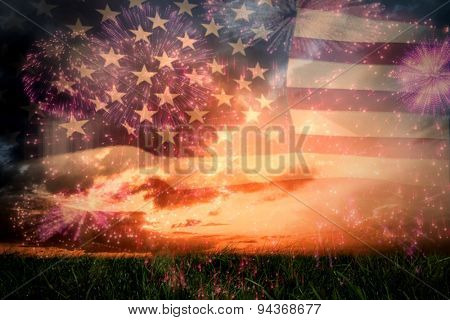 Colourful fireworks exploding on black background against united states of america flag