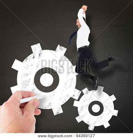 Jumping businessman against black
