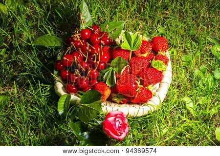 Stawberry, Cherry And Rose