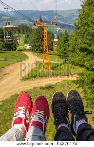 Couple In Chairlift