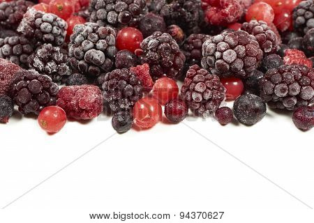 Mixed Frozen Berry Fruits On White