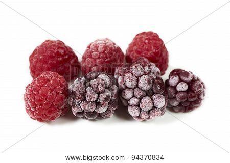 Macro Shot Of Some Frozen Berries