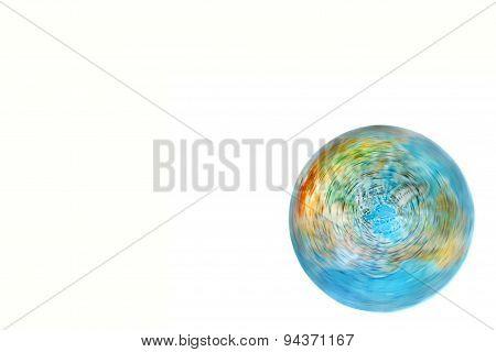 World Globe Turning On White Background