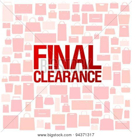 Final clearance background with shopping bags pattern.