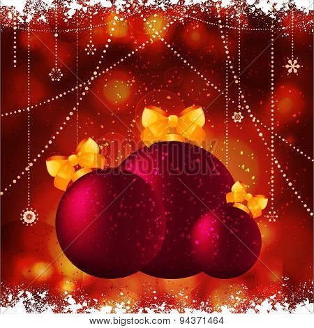 Christmas Baubles With Bow Background