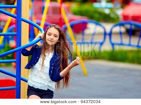 Beautiful Teen Girl On Playground