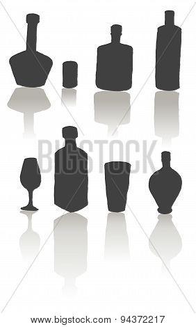 Bottles, Glasses, Wine Glasses, Alcoholic Drinks At The Bar