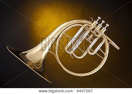Antique French Horn Isolated
