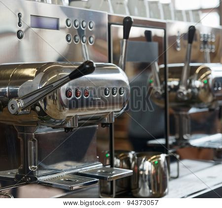 Italian espresso machine, shallow depth of field