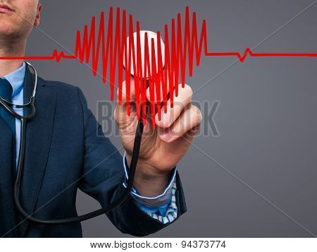 Closeup portrait handsome business man, male corporate employee, worker listening to heart with stet