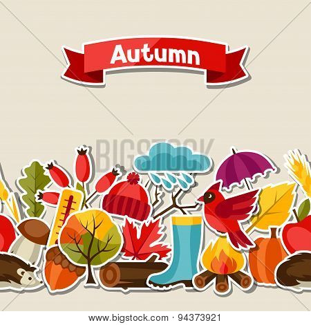 Seamless pattern with autumn sticker icons and objects