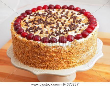 Homemade Cake With Cherries