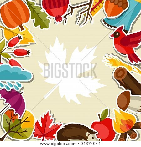 Background design with autumn sticker icons and objects