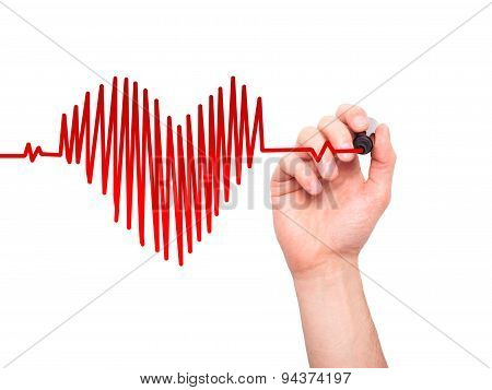 Closeup of hand drawing heart beat in heart shape.
