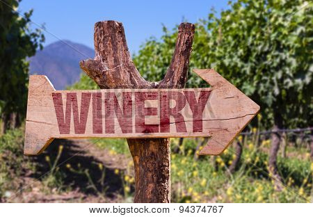 Winery wooden sign with winery background