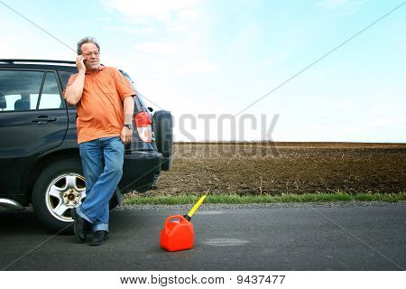 Man running out of petrol