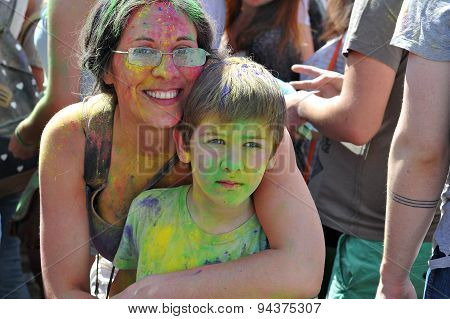 ST. PETERSBURG, RUSSIA - JUNE 13, 2015: Festival of colors at stadium Kirovets in Saint Petersburg 1