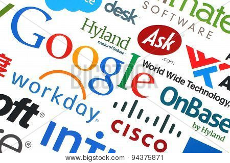 KIEV UKRAINE - MAY 12 2015:Collection of popular internet companies