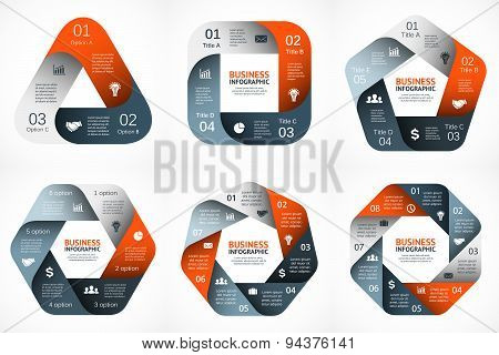 Vector geometric infographic. Template for cycle diagram, graph, presentation and round chart. Busin