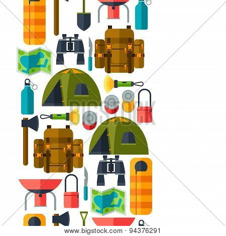Tourist seamless pattern with camping equipment in flat style