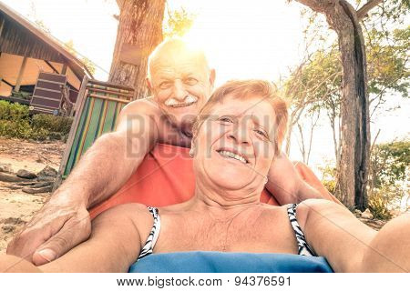Senior Happy Couple Taking Selfie At In Thailand Trip - Adventure Concept Of Active Elderly And Fun