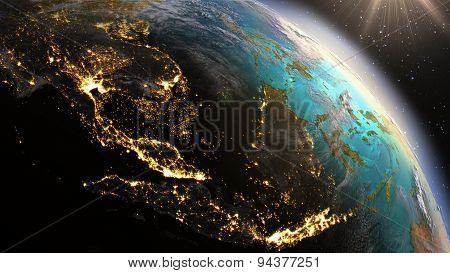 Planet Earth South East Asia Zone. Elements Of This Image Furnished By Nasa