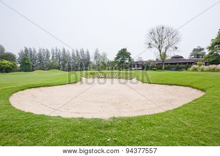 A Sandpit At A Golf Course