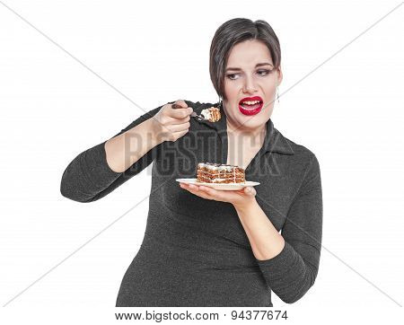 Plus Size Woman Does Not Want To Eat Cake Isolated