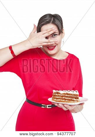 Beautiful Plus Size Woman With Cake Isolated