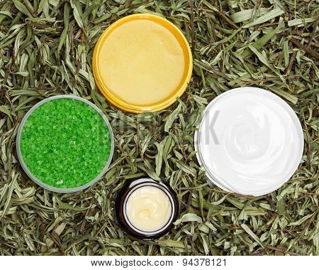 Different Natural Beauty Products In Green Leaves