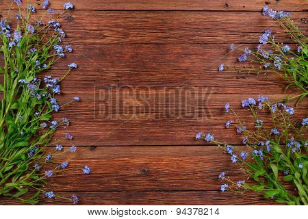 Forget-me-not Flowers On Wooden Background, Copy Space