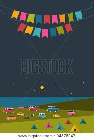 Summer Night Festival Background.