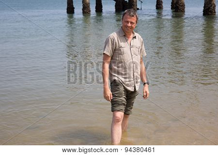 Charming Man, Barefoot At The Beach On Holidays