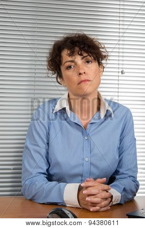 Woman At Work Not Happy To Be There