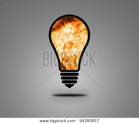 Fire Lamp On A Dark Background
