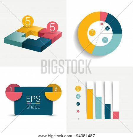 Set Of Charts And Brochure Elements.