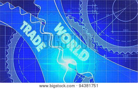 World Trade on the Cogwheels. Blueprint Style.